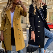 Fashion Solid Color Long Sleeve Double-breasted Slim Fit Woolen Coat