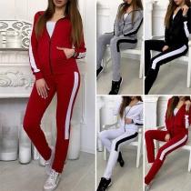 Fashion Contrast Color Long Sleeve Sweatshirt Coat + Pants Two-piece Set