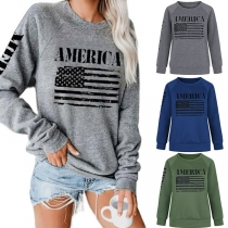 Casual Style Long Sleeve Round Neck Letters Printed Sweatshirt