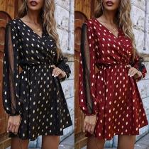 Sexy Gauze Spliced Long Sleeve V-neck Dots Printed Dress