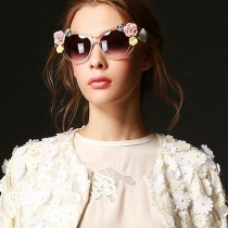 Ladies Clear Frame Sunglasses Shades with Ceramic Flowers
