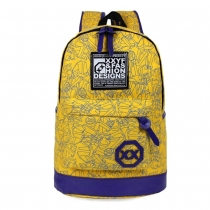 Fashion Contrast Color Canvas Backpack Travelling School Computer Bag