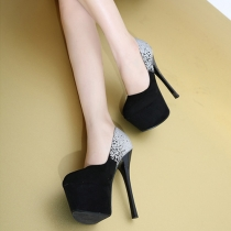 Elegant Contrast Color Round Toe Super High-heeled Shoes
