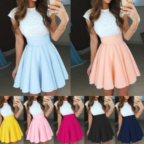 Fashion Contrast Color Lace Spliced Pleated Dress