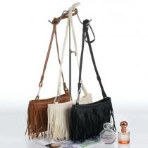 Fashion Solid Color Tassel Shoulder Messenger Bag