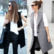 Fashion Solid Color Sleeveless Lapel Slim Fit Vest