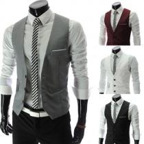 Fashion Solid Color V-neck Single-breasted Men's Suit Vest