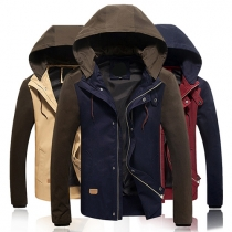 Fashion Casual Splice Color Slim Fit Hoodie Jacket Coat