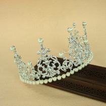 Fashion Rhinestone Pearl Inlaid Wedding Crown
