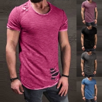 Casual Style Short Sleeve Round Neck Ripped Men's T-shirt