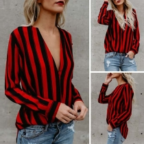 Fashion Long Sleeve V-neck Striped Blouse