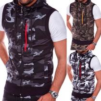 Fashion Camouflage Printed Sleeveless Hooded Men's Vest