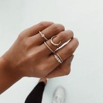 Fashion Rhinestone Inlaid Alloy Ring Set 5 pcs/Set