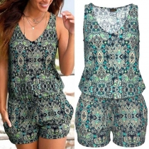 Fashion Sleeveless V-neck Printed Romper