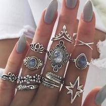 Fashion Silver-tone Gem Inlaid Alloy Ring Set 11 pcs/Set