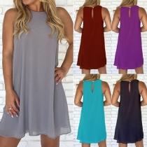 Fashion Solid Color Sleeveless Round Neck Chiffon Dress