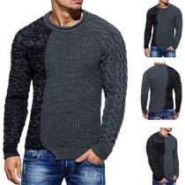 Fashion Contrast Color Long Sleeve Round Neck Irregular Hem Men's Sweater