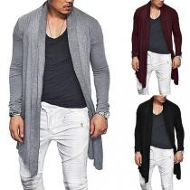 Fashion Solid Color Long Sleeve Irregular Hem Men's Cardigan