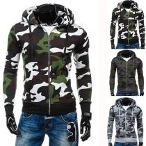 Fashion Camouflage Spliced Long Sleeve Zipper Hooded Men's Sweatshirt