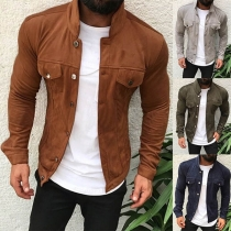Fashion Solid Color Long Sleeve Stand Collar Men's Thin Jacket