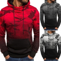 Fashion Color Gradient Camouflage Printed Men's Hoodie
