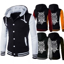 Fashion Contrast Color Long Sleeve Single-breasted Hooded Men's Sweatshirt