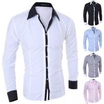 Fashion Contrast Color Long Sleeve POLO Collar Men's Shirt
