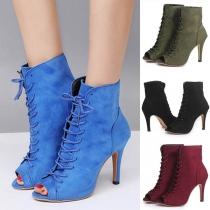 Fashion Peep Toe High-heeled Lace-up Ankle Boots
