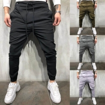 Casual Style Solid Color Drawstring Waist Men's Pants