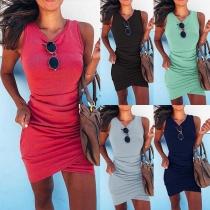 Fashion Solid Color Irregular Hem Slim Fit Tank Dress