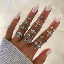 Retro Style Rhinestone Inlaid Ring Set 14 pcs/Set
