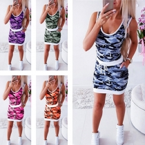Fashion Sleeveless Round Neck Camouflage Printed Dress