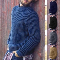 Fashion Solid Color Long Sleeve Round Neck Men's Sweater