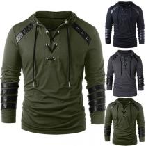 Fashion PU Leather Spliced Long Sleeve Men's Hoodie