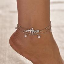 Fashion Imitation Pearl Anklet Set 2 pcs/Set