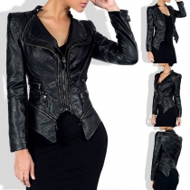 Punk Style Long Sleeve Irregular Hem Slim Fit PU Leather Jacket