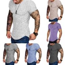 Fashion Short Sleeve Round Neck Arc Hem Man's T-shirt