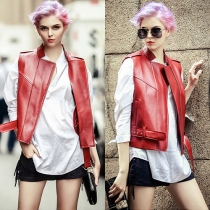 Fashion Solid Color Stand Collar PU Leather Vest with Waist Strap