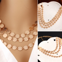 Fashion Coins Multi-layer Sweater Necklace