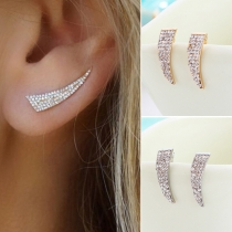Simple All-match Rhinestone Knife Shaped Stud Earring