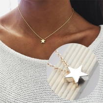 Fashion Gold/Silver-tone Pentagram Pendant Necklace