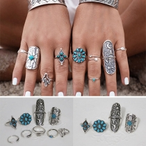 Retro Bohemia Style Carved Ring Set 9 Pieces/Set
