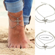 Retro Style Chinese Knot Clasp Multi Layer Tassel Anklet