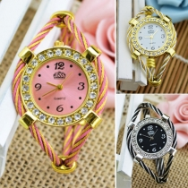 Fashion Rhinestone Inlaid Round Dial Quartz Watch