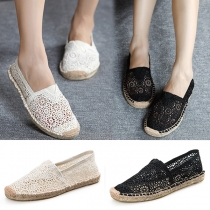 Fashion Round Toe Flat Heel Hollow Out Breathable Canvas Shoes
