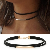 Punk Style Copper Tube Pendant Double Layer Choker Necklace