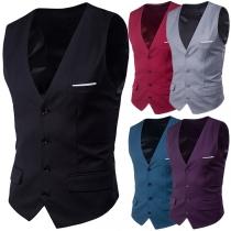 Fashion Solid Color Sleeveless V-neck Single-breasted Men's Vest