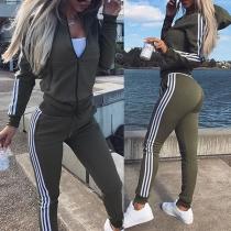Fashion Striped Spliced Long Sleeve Hooded Sweatshirt + Pants Sports Suit