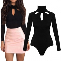 Sexy Long Sleeve Mock Neck Hollow Out Solid Color Bodysuit