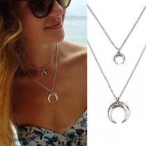 Retro Style Crescent Pendant Double-layer Necklace